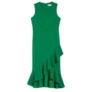 Calvin Klein midi sheath dress ruffle hem green